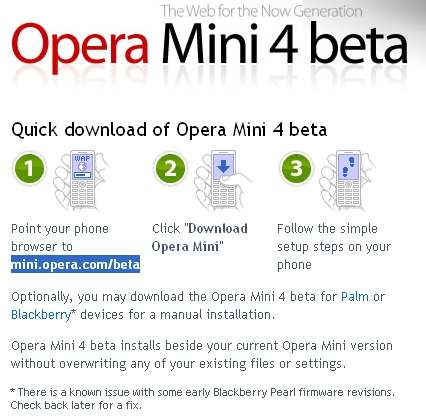 download opera mini 4 beta